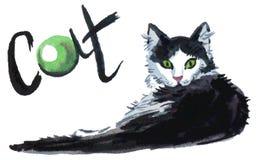 Kattenwaterverf Stock Afbeelding