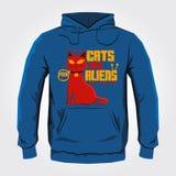 Katter är främlingar - design för vektorhoodietryck Royaltyfri Fotografi
