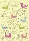Katter av olika färger Arkivfoton
