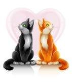 katter förbunde älska romantiker två stock illustrationer