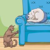Katter i fåtöljen, gulligt älsklings- djur som spelar och vilar vektorillustrationen royaltyfri illustrationer
