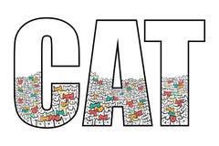 Katter inom linjen för ordkattillustration för tryckaffischer och skjortor för baner t och bokstäver som färgas i pastellfärgade  vektor illustrationer