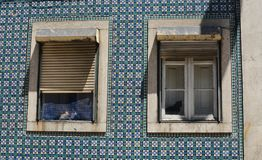 Katter Lissabon fönster Arkivfoton
