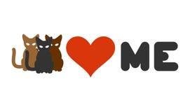 Katter älskar mig Hjärta och husdjur Logo för katter ägare och djurlov Arkivbilder