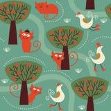 katter mönsan seamless stock illustrationer