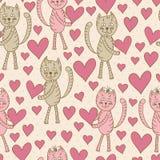 Katter med den sömlösa modellen för hjärtor royaltyfri illustrationer