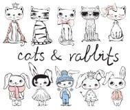 Katter och kaniner stock illustrationer