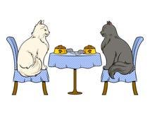 Katter på datum i vektor för konst för kattrestaurangpop stock illustrationer