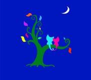 Katter på tree stock illustrationer