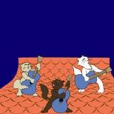 Katter sätter band gitarristen som spelar på taket på natten Arkivbild