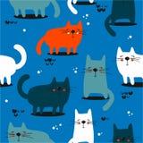 Katter sömlös modell vektor illustrationer