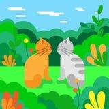 Katter som är förälskade i ängen också vektor för coreldrawillustration SOMMAREN landskap vektor illustrationer