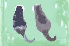 Katter som äter i deras bunke, målarfärgillustration Arkivbild