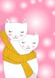 Katter som delar scarfhälsningskortet royaltyfri illustrationer