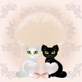 katter värmer upp stock illustrationer