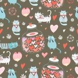 kattförälskelsetextur royaltyfri illustrationer
