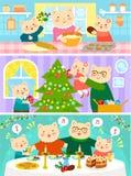 Kattfamilj på jul Arkivbild