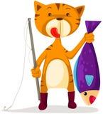 kattfiske stock illustrationer