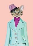 Kattflickauppklädd i klassisk retro stil royaltyfri illustrationer