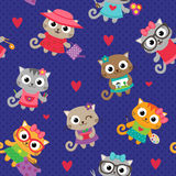Kattflickor med olika hobbyer vektor illustrationer