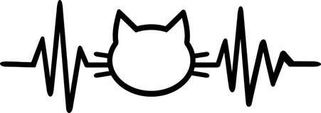 Katthjärtslaglinje med kattkonturn Royaltyfri Bild