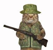 Kattkommandosoldat med ett gevär fotografering för bildbyråer