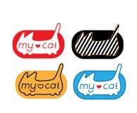 Kattlogo uppsättning av den abstrakta kattsymbolen med bokstäverbeståndsdelar Royaltyfria Bilder