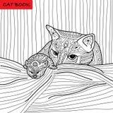 Kattmoder och hennes kattunge - färgläggningboken för vuxna människor - zentanglekattbok Royaltyfria Bilder