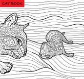 Kattmoder och hennes kattunge - färgläggningboken för vuxna människor - zentanglekattbok Arkivbilder
