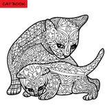 Kattmoder och hennes kattunge - färgläggningboken för vuxna människor - zentanglekattbok Fotografering för Bildbyråer