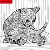 Kattmoder och hennes kattunge - färgläggningboken för vuxna människor - zentanglekattbok, hand dragen vektorillustration Arkivfoto