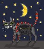 kattnatt royaltyfri illustrationer