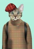 Kattpojkeuppklädd i stads- stil stock illustrationer