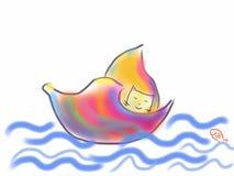 Kattsegling i ett färgrikt skal på vattnet Arkivbilder