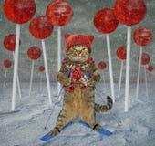Kattskidåkare i klubbaskogen royaltyfria bilder