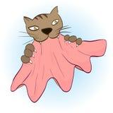 Katttänder och jordluckrare grep torkduken stock illustrationer