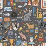 Katttecken och lägenheten för modell för veterinäromsorg den sömlösa utformar stock illustrationer