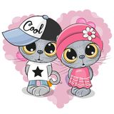 Kattungar pojke och flicka på en hjärtabakgrund stock illustrationer
