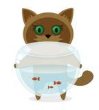 Kattunge med en fisk Royaltyfri Illustrationer