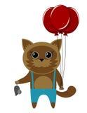 Kattunge med en mus gåva Vektor Illustrationer