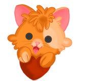 Kattunge med lite hjärta stock illustrationer