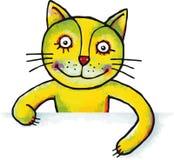 Kattunge med plakatet eller baner för din text Arkivfoton