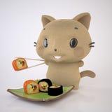 Kattunge och Sushi Royaltyfri Bild