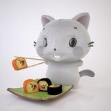 Kattunge och Sushi Arkivfoton