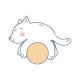 Kattunge på den gula bollen Royaltyfri Fotografi