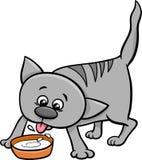 Kattungedrinken mjölkar tecknade filmen Arkivbild