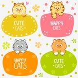 Kattungeetiketter royaltyfri illustrationer