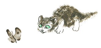 Kattungen jagar Royaltyfri Fotografi