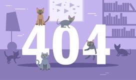 Kattvektor för fel 404 cartoon royaltyfri illustrationer