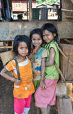 Katu ethnic girls. SALAVAN, LAO PDR - JANUARY 29: Three unidentified katu ethnic girls 11-12 years old pose for camera on January 29 ,2011 Salavan province,Lao stock image